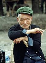 Un homme âgé dans les environs de Pékin